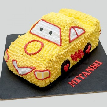 Yellow Car Shape Cake