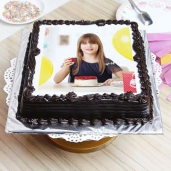 Square Truffle Photo Cake