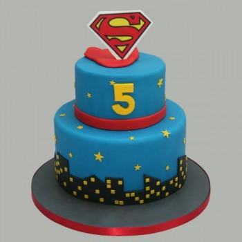 2 Tier Superman Cake