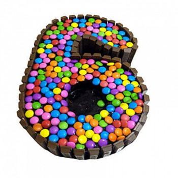 Kitkat Gems Number Cake
