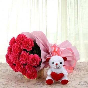 Red Carnations n Teddy Bear