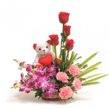 Basket Arrangement Flowers n Teddy