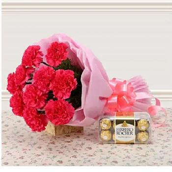 Pink Carnations n Ferrero Rocher