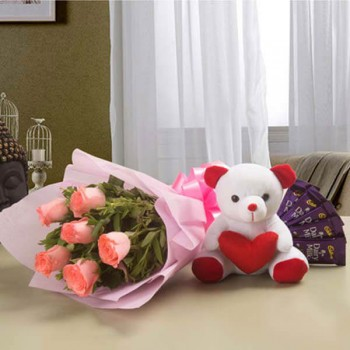 Pink Roses Teddy n Chocolates