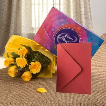 Yellow Roses Chocolates n Card