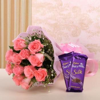 Pink Roses N Cadbury Silk