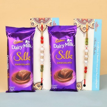 2 Rakhi with Silk Chocolates