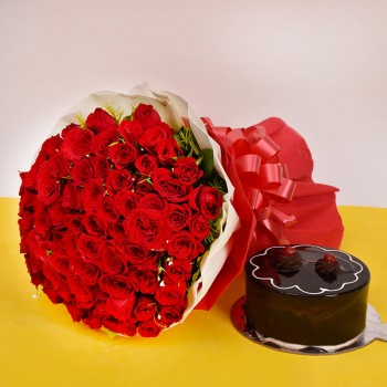 100 Red Roses and Cake
