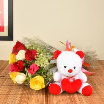 Teddy with Mix Roses
