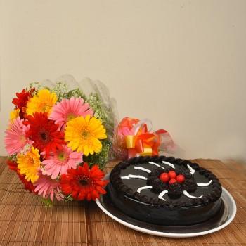 Gerberas n Truffle Cake