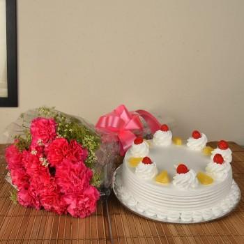 Pink Carnations n Pineapple Cake
