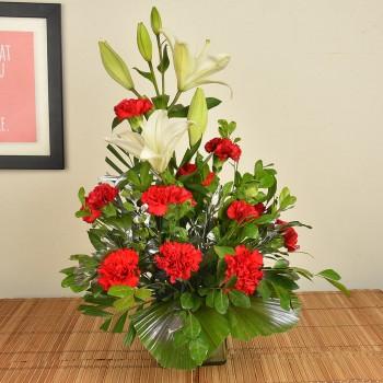 Carnations n Lilies in Vase