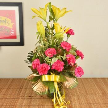 Lilies n Carnations in Vase