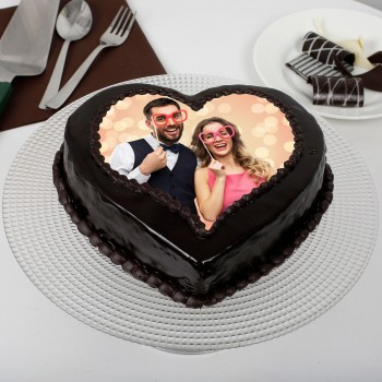 Heart Shaped Truffle Photo Cake