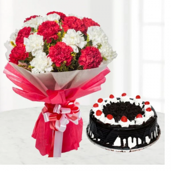 Carnations n Black Forest Cake