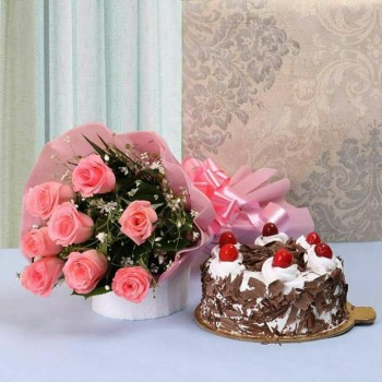 Pink Roses N Black Forest